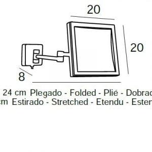 ESPEJO DE AUMENTO 5x CON LED 4W CUADRADO
